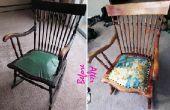 Overspuiten van/reupholstering van een hand gebonden lente schommelstoel