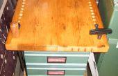 Bouwen van een hout draaibank werken bankje met laden met behulp van gerecycled vintage hout