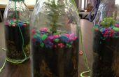 Plant in een glazen fles