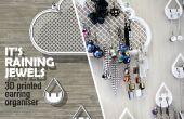 Earring wolken - 3D vertoning van de juwelen van de gedrukte