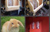 Bunny Rabbit hydratatie Station gemaakt van schroot hout
