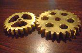 Hand geplaatst decoratieve brass gears voor steampunkers en???