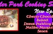 Cherry gebakken Donut Pudding met Malibu Margarine chocoladesaus