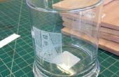 Laser gegraveerde glazen (na het nemen van de Techshops Laser-ETS en roterende gereedschap klassen)