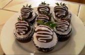 Klassieke aardbei Chocolade Cupcakes