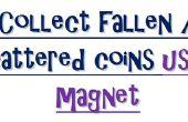 Een creatief gebruik van magneet. Verzamel gevallen of verspreide munten met behulp van de magneet. een Experiment met magneet.