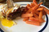 Drievoudige eiwit hamburger maaltijd met Dessert