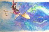 Ter illustratie van een heks en haar kat met aquarellen