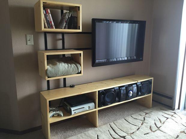 Tv Op Plank Aan Muur.Zwevende Tv Standaard Cadagile Com