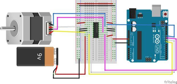 Beheersing van een stappenmotor met een Arduino / Stap 6 ...