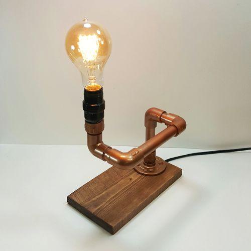 New Edison Lamp gemaakt met hout en Faux koperen pijp - cadagile.com &LF95